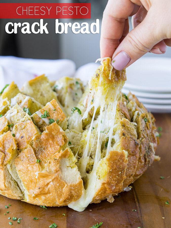 Cheesy Pesto Crack Bread