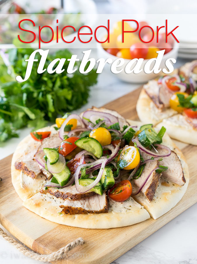 These Spiced Pork Tenderloin Flatbreads are a breeze to whip up for a quick dinner or lunch. They are even great as an appetizer too!