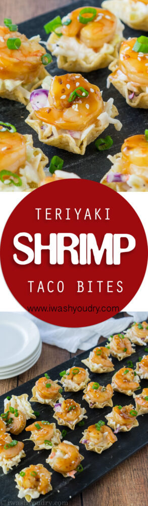 These Teriyaki Shrimp Taco Bites are everything you love about a shrimp taco, but in a pop-able bite-sized form! Saucy coleslaw, tender, sweet teriyaki shrimp and a crunchy tortilla chip scoop! Perfect for appetizers!