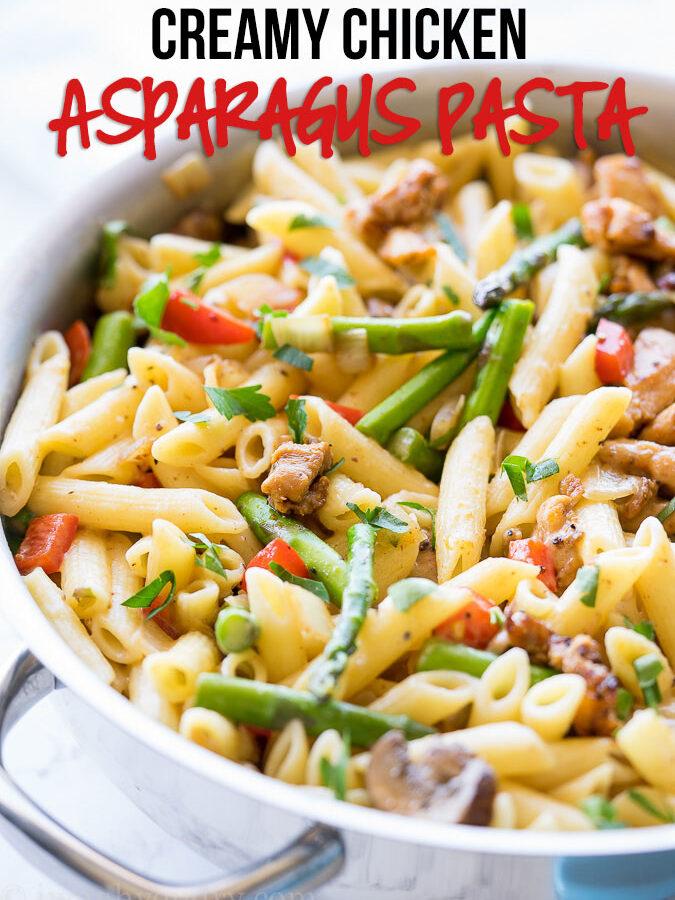 Creamy Chicken Asparagus Penne Pasta