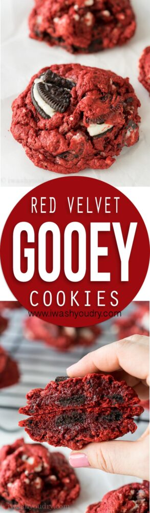 These Red Velvet Oreo Gooey Butter Cake Cookies are just 5 ingredients! I made a batch for a friend but couldn't stop eating them myself!