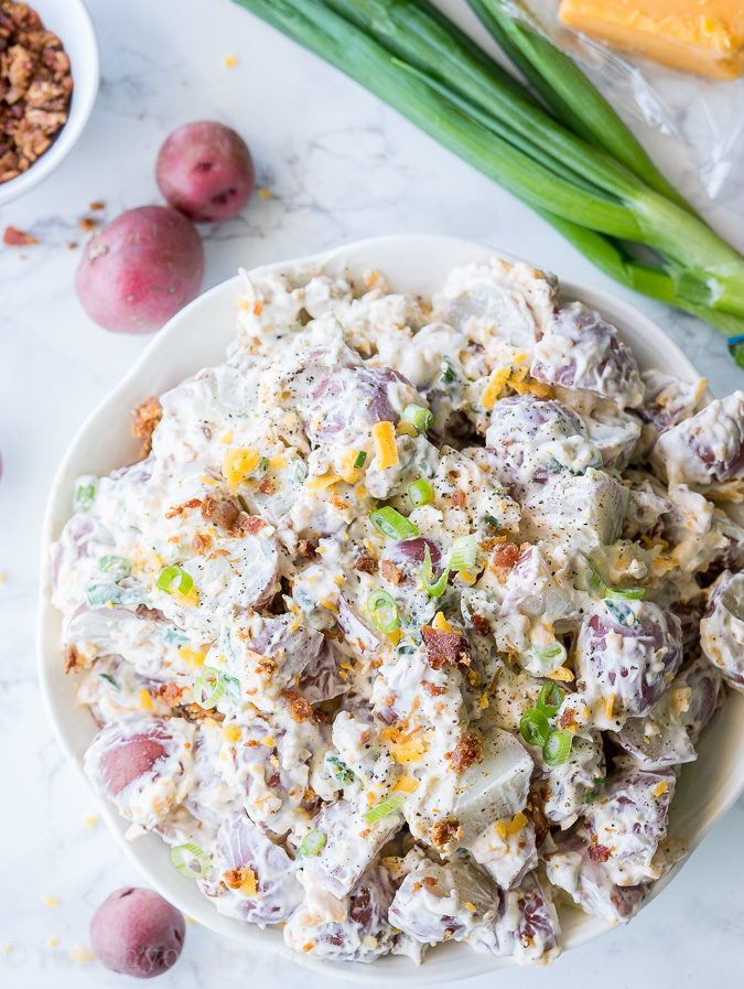 Whenever I make this Loaded Baked Potato Salad, everyone always begs for the recipe! It's so easy and so good!