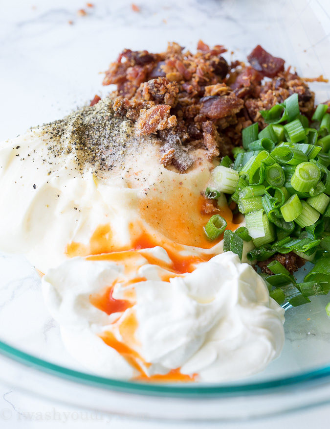 The dressing for this Loaded Baked Potato Salad is so simple and flavorful! Love it!