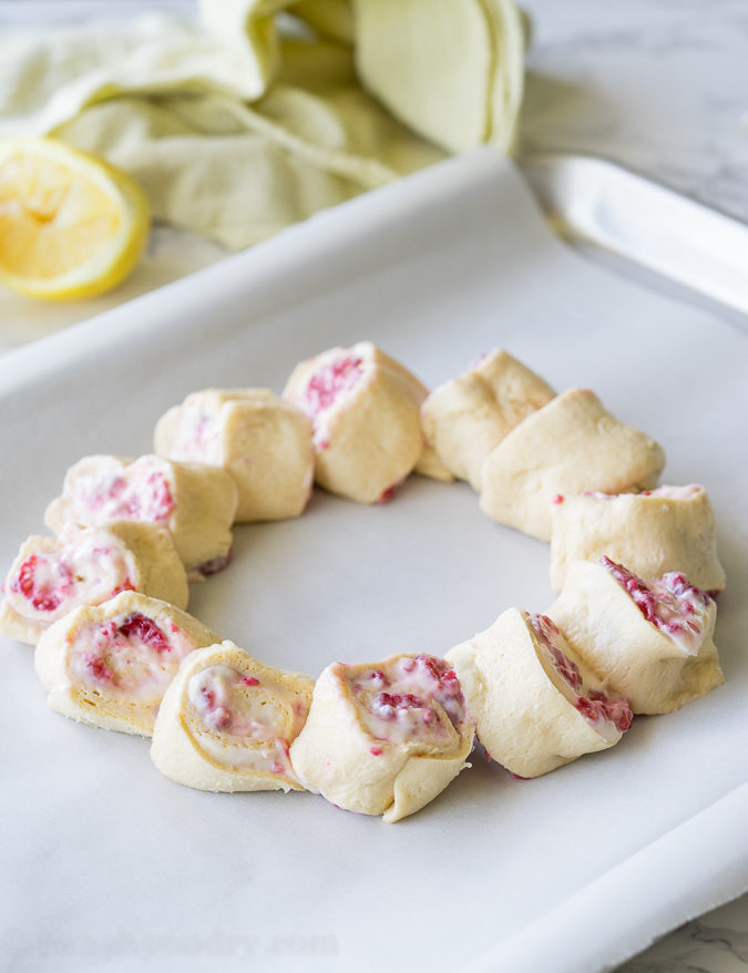 The filling on these Lemon Raspberry Cream Cheese Danish Rolls is so simple, yet so flavorful!