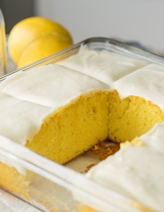The frosting on this Super Easy Lemonade Cake is ridiculously delicious!