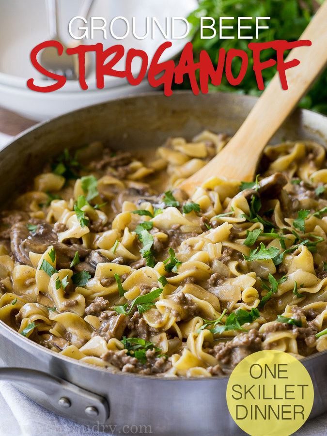 One Skillet Ground Beef Stroganoff