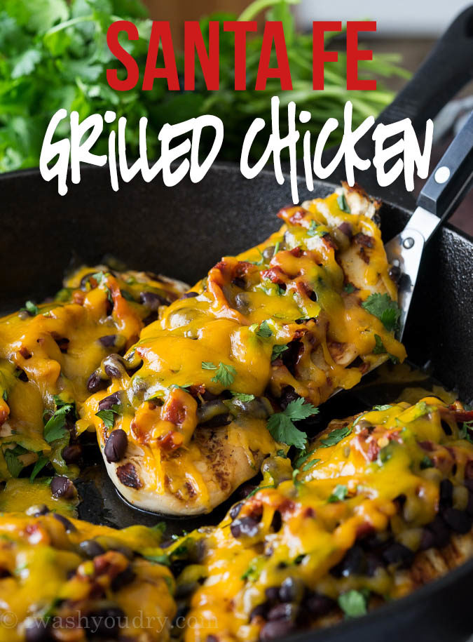 This Zesty Grilled Santa Fe Chicken is loaded with toppings and the chicken is super moist too!