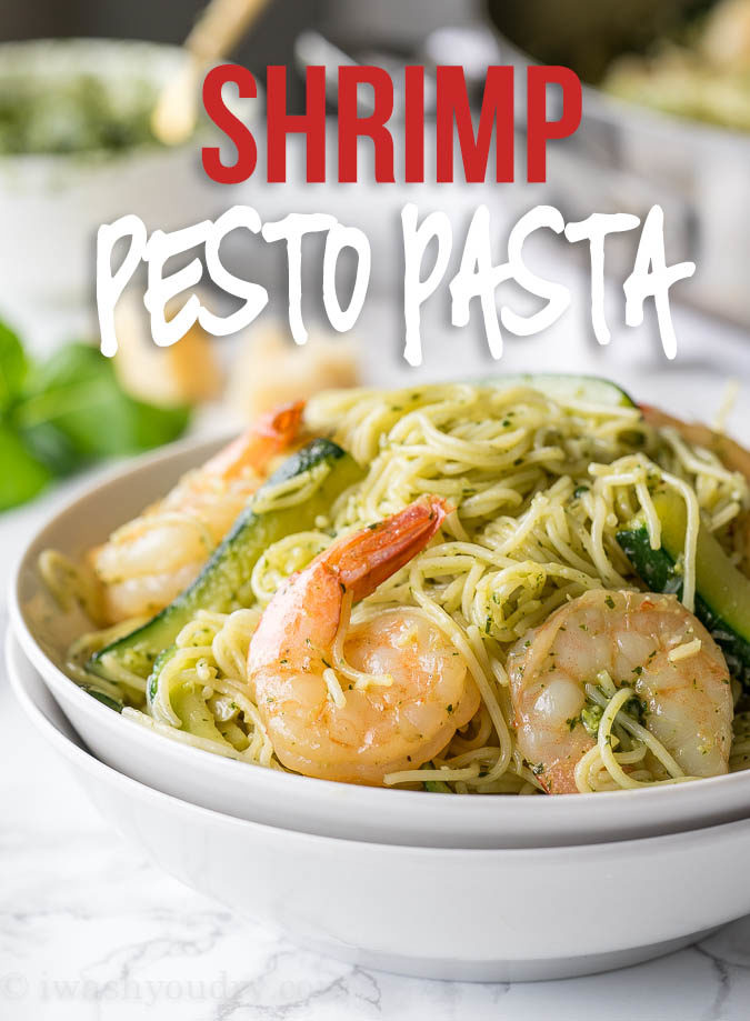 This super easy Shrimp Pesto Pasta is an extremely flavorful dish that's filled with fresh zucchini, pasta, shrimp and parmesan cheese!