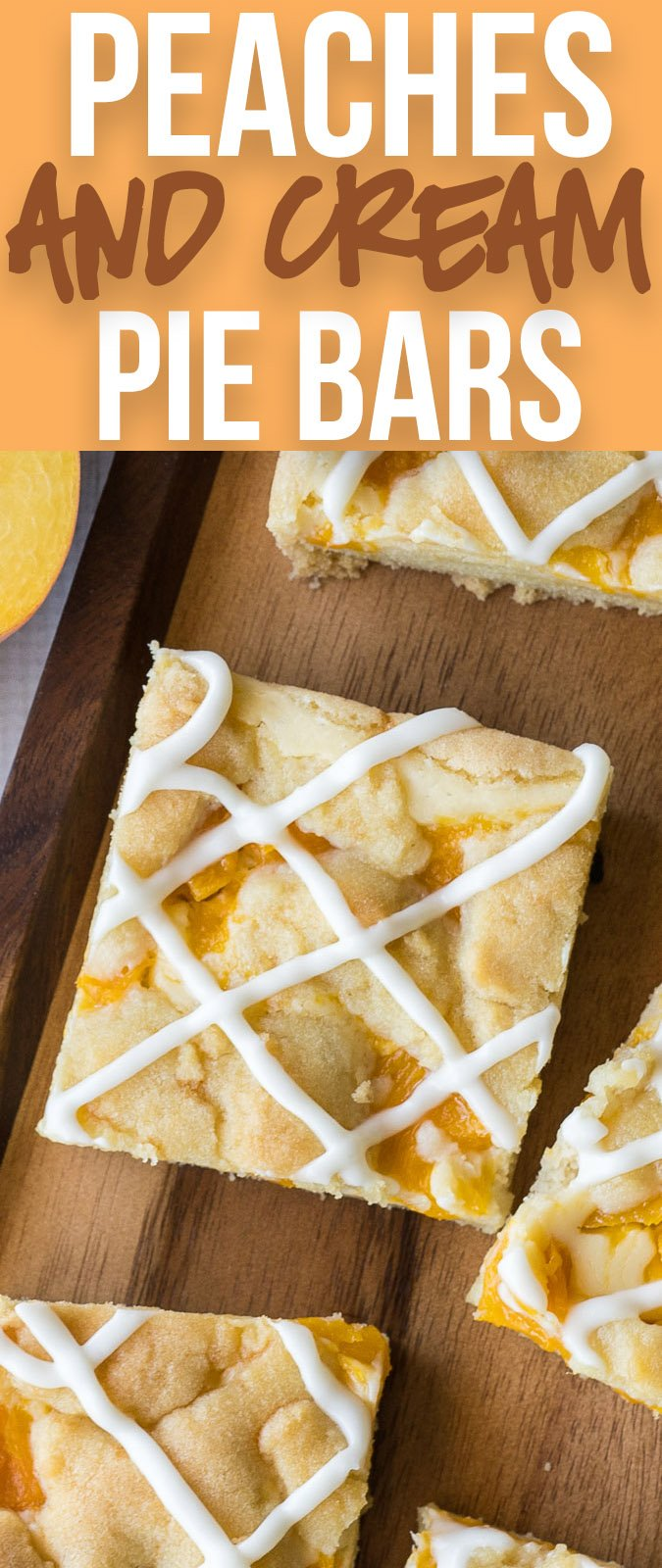 These Peaches and Cream Pie Bars are an easy dessert recipe that's perfect for a party or potluck!