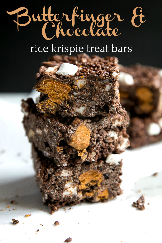 These Butterfinger Chocolate Rice Krispie Treats are a delicious twist on the classic Rice Krispie treat bar, but filled with chocolate and peanut butter!