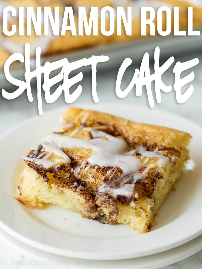 This super easy Cinnamon Roll Sheet Cake is a perfect dessert for potlucks or parties! So easy and seriously so delicious!