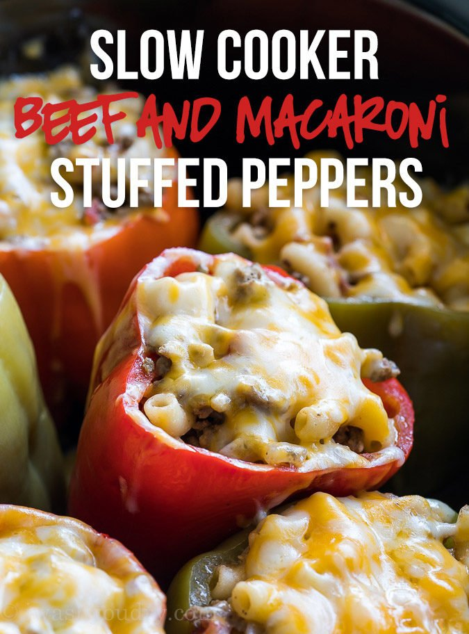 These quick and easy Slow Cooker Beef Macaroni Stuffed Peppers are made with ground beef and are a family favorite!