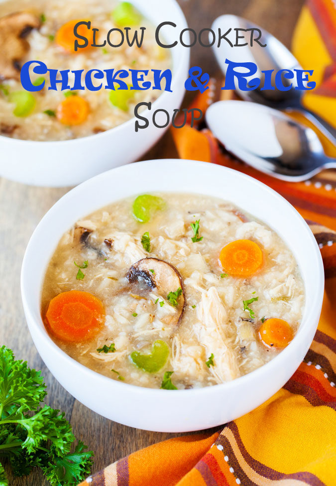 Quick and simple to throw together, this Slow Cooker Chicken and Rice Soup is hearty, tasty, and easily customizable to suit any palate.