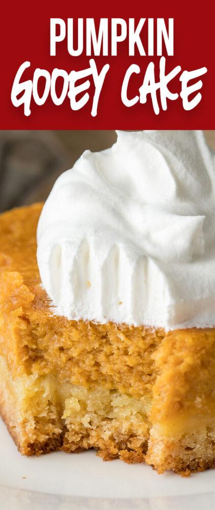 This Pumpkin Gooey Cake is a definitely crowd pleaser! Part cake, part pumpkin pie... it's a dessert winner!