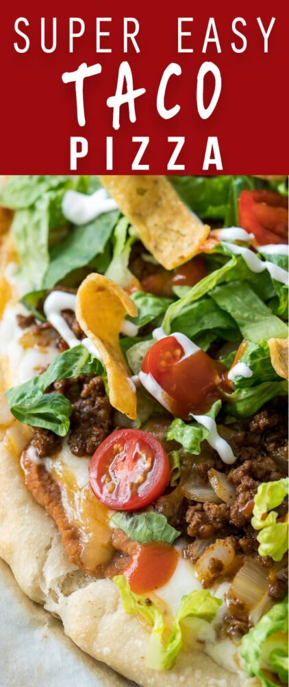 You're going to LOVE this Super Easy Taco Pizza! It's the best of both worlds!