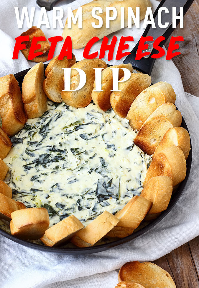 Warm spinach feta cheese dip is the perfect party food. Rich and creamy this easy crowd pleaser should definitely be on your party menu!