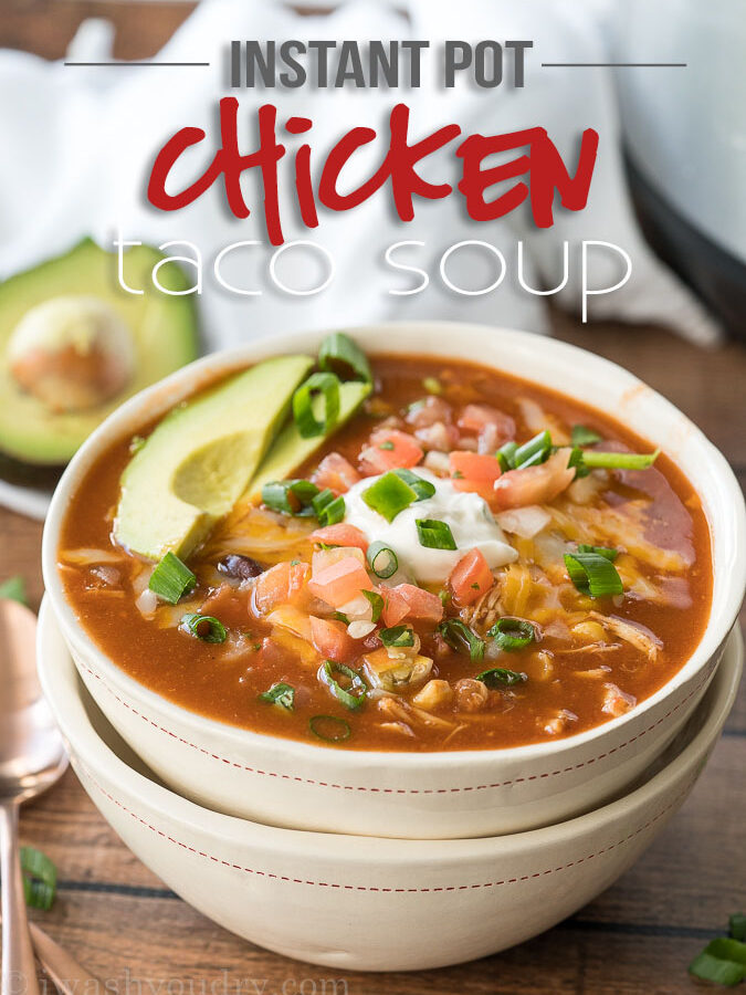 This Instant Pot Chicken Taco Soup recipe is seriously so easy to make! My kids devoured this!